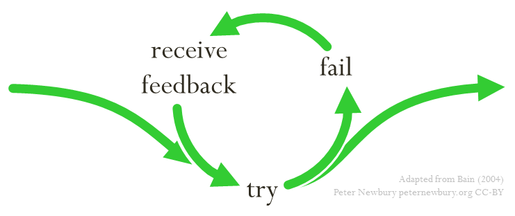 Students need opportunities to try, fail, receive feedback, and try again before facing a summative evaluation (Ken Bain, 2004). (Graphic by Peter Newbury)