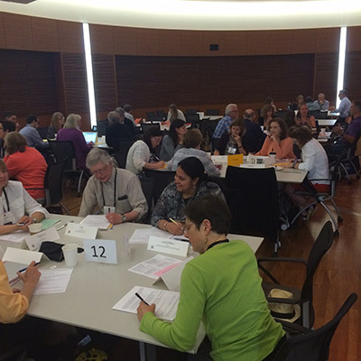 In Part 2 of the jigsaw, participants took turns sharing their advice about each student and listening to others. (Photo: Peter Newbury)