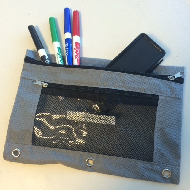 Each whiteboard comes with a pencil case containing 4 different-colored markers and an eraser. (Picture: Peter Newbury)