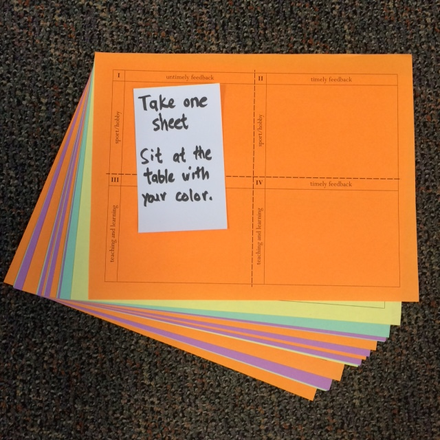 I copied 4 worksheets onto 4 colors of paper and interlaced the copies. As students grabbed the top sheet, they were perfectly divided into groups.
