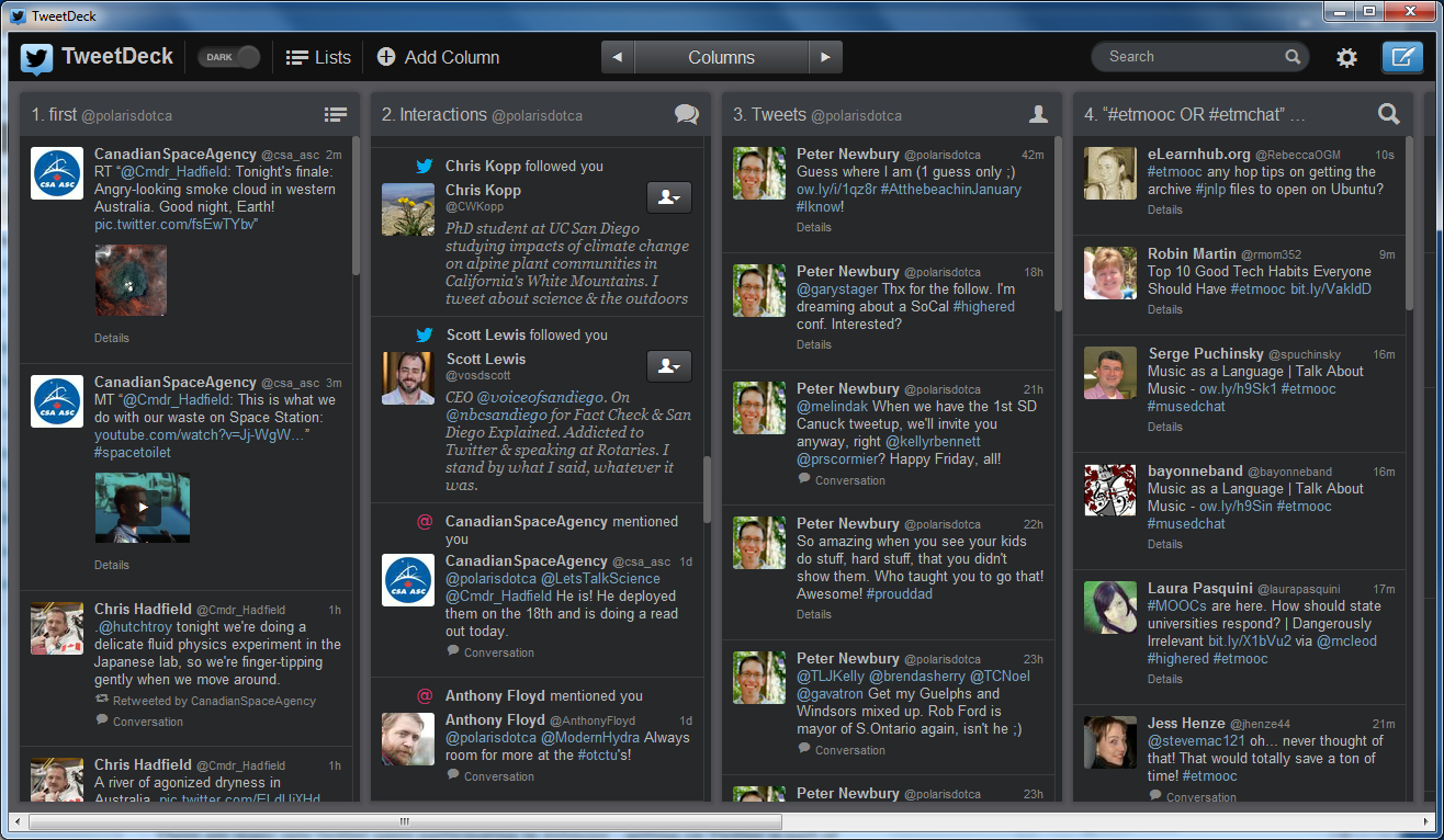 The first 4 of the dozen or so columns I have in TweetDeck.